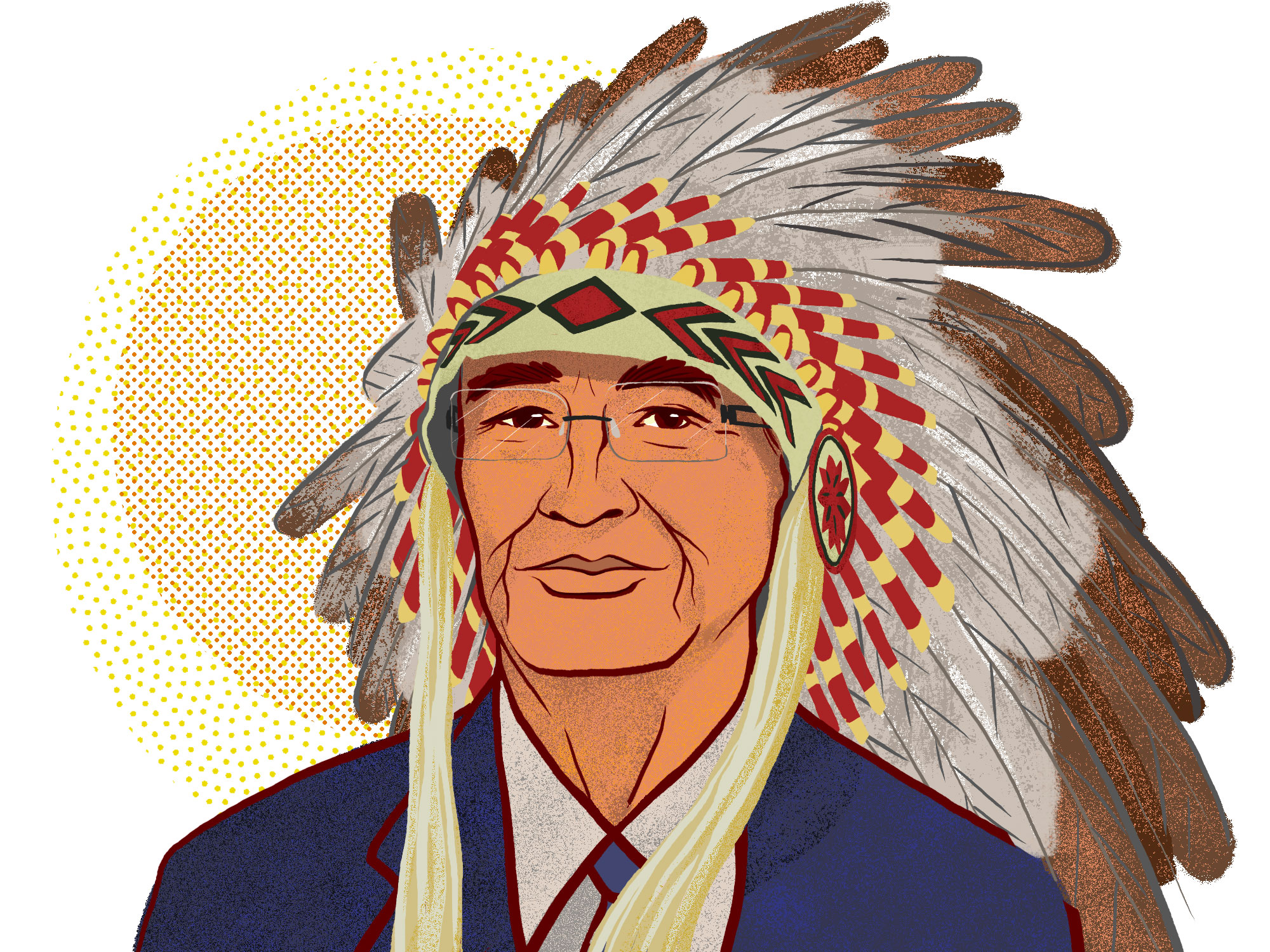 Chief Wilton Littlechild, '67 BPE, '75 MA, '76 LLB (Illustration by Jordan Carson)