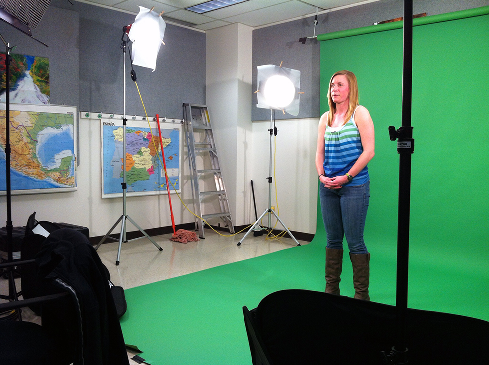 Behind the Scenes of Dino101 - Betsy in front of Green Screen