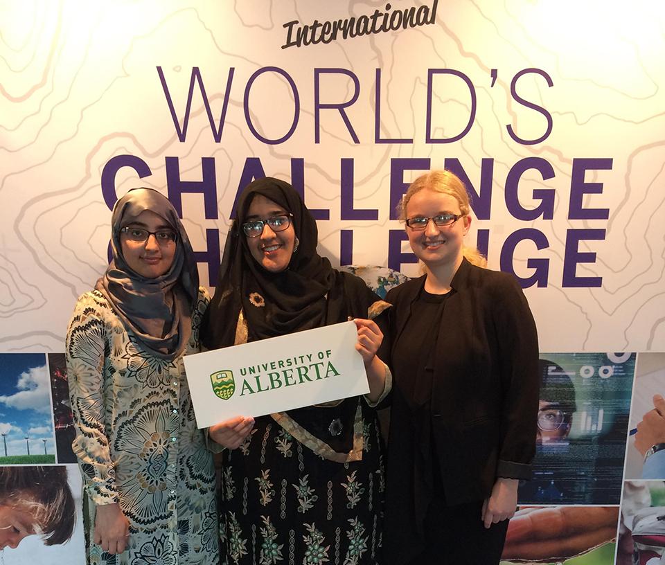UAlberta Team: Syeda, Raeha and Ronja, at World's Challenge Challenge finals in London, Ontario.