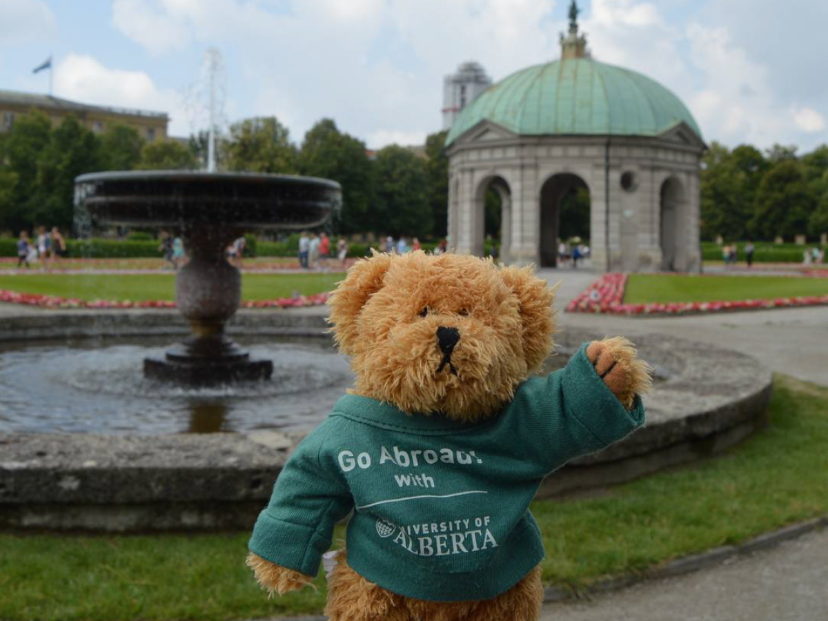 Ed the Go Abroad Bear waves hello from Munich, Germany