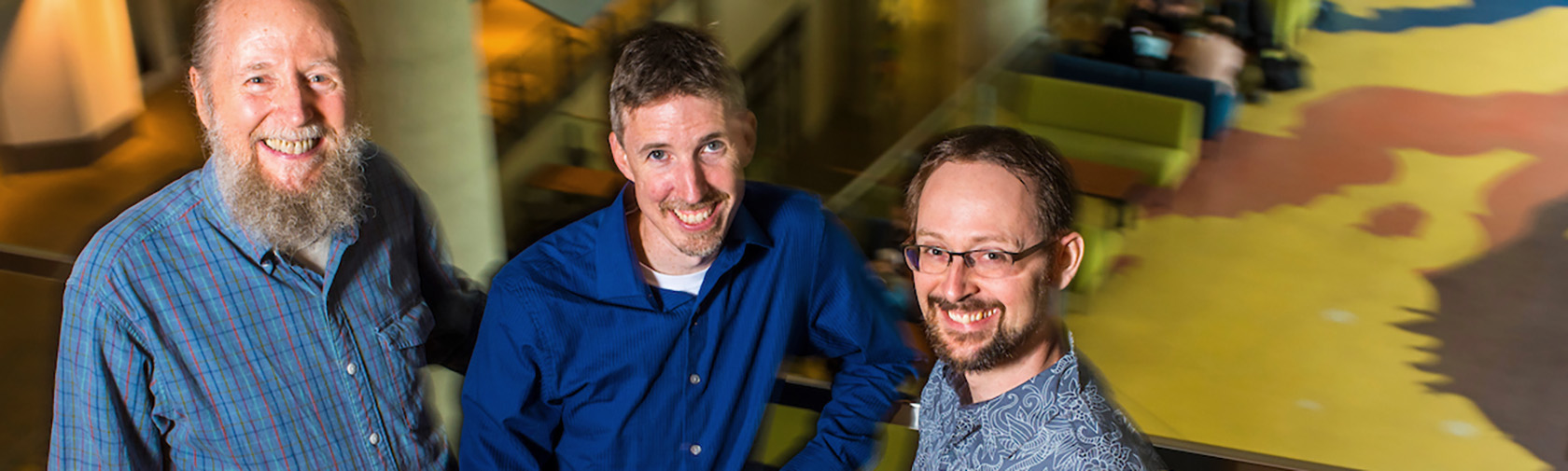 University of Alberta computing science professors and artificial intelligence researchers Richard Sutton, Michael Bowling, and Patrick Pilarski.