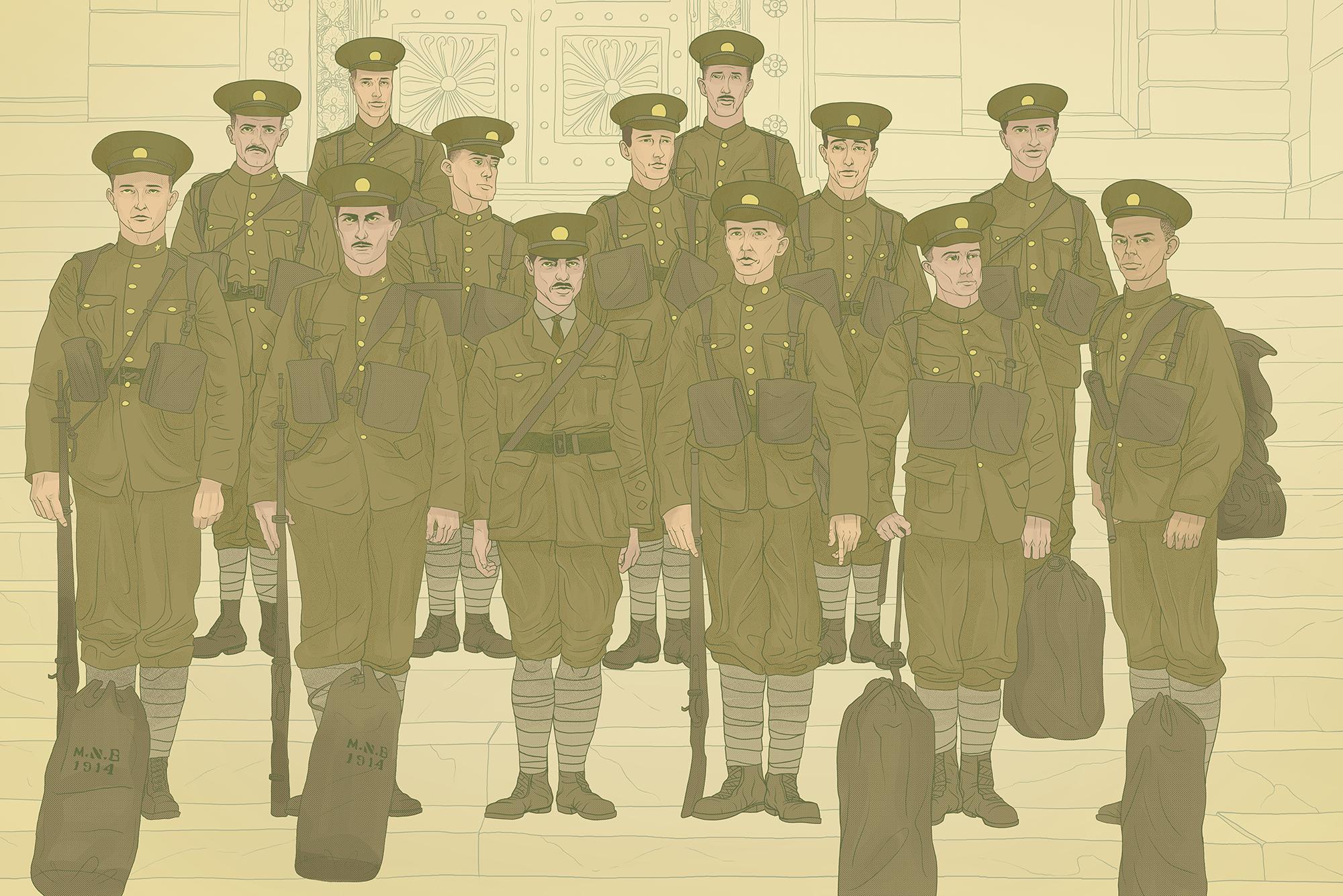 University of Alberta soldiers, Montreal, 1915. Illustration by Jordan Carson