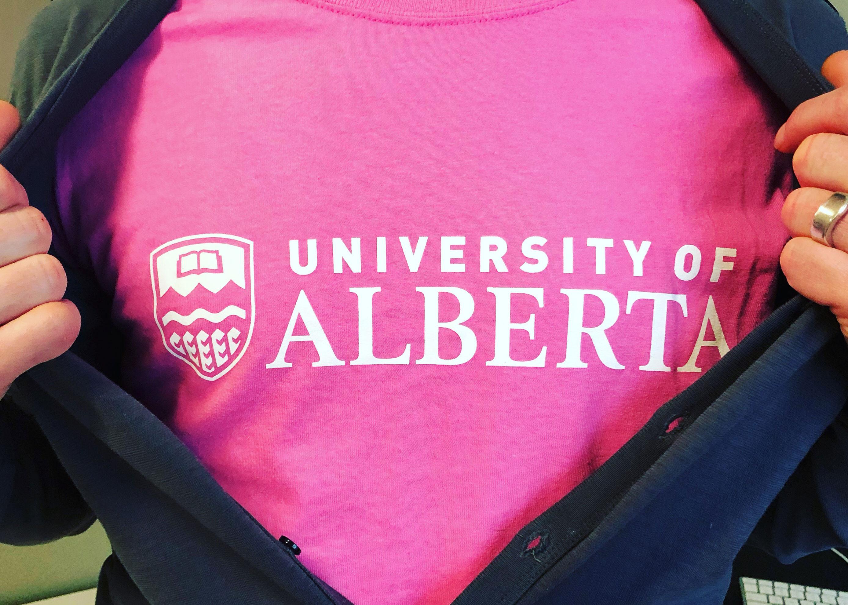 A Pink University of Alberta T-Shirt
