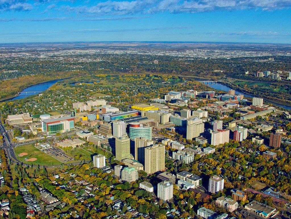 Aerial view of UAlberta and downtown Edmonton