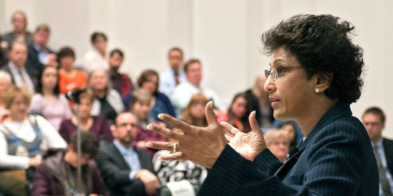 UAlberta President Indira Samarasekera addresses the audience at her annual State of the University address Feb. 28. (Photo: Richard Siemens)