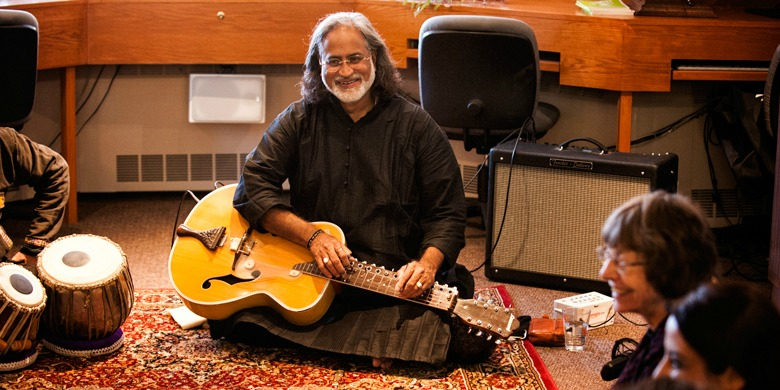 Grammy award winner Vishwa Mohan Bhatt gave UAlberta music students a master class in Indian classical music.