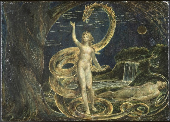 "William Blake's ""Eve Tempted by the Serpent"" depicts the traditional story of why Adam and Eve were exiled from Eden."