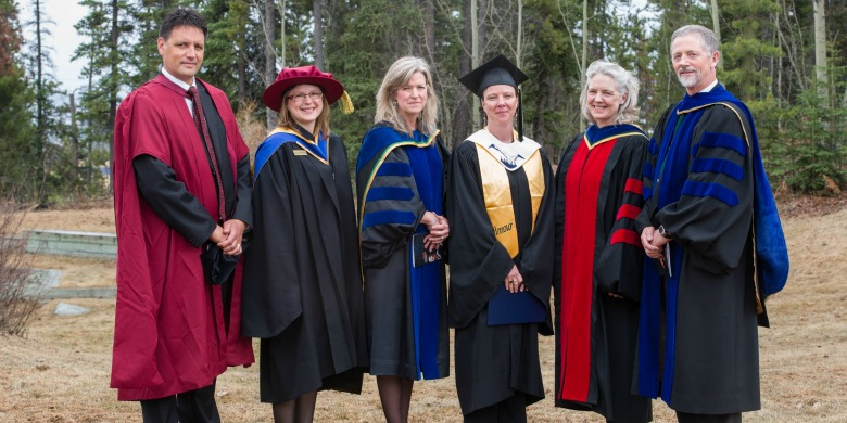 Natasha Ayoub (third right) earned the first BSc degree to be awarded north of the 60th parallel in Canada thanks to a partnership between UAlberta and Yukon College.