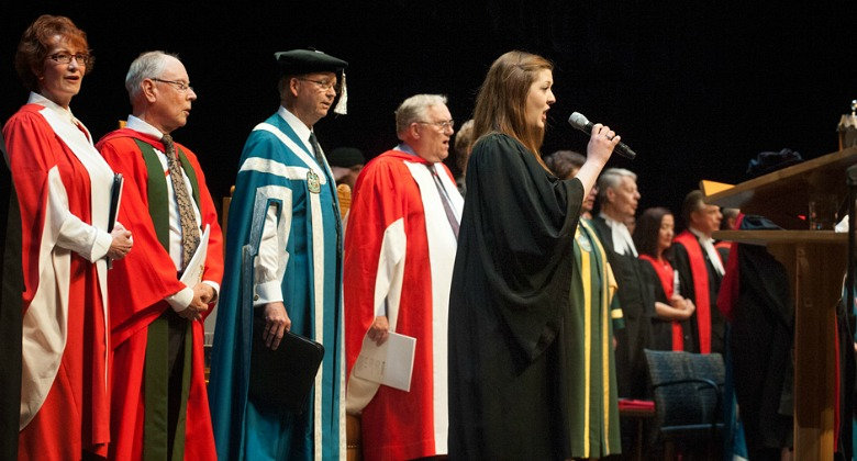 Gianna Read sings Canada's national anthem during the Faculty of Law convocation ceremony June 4.