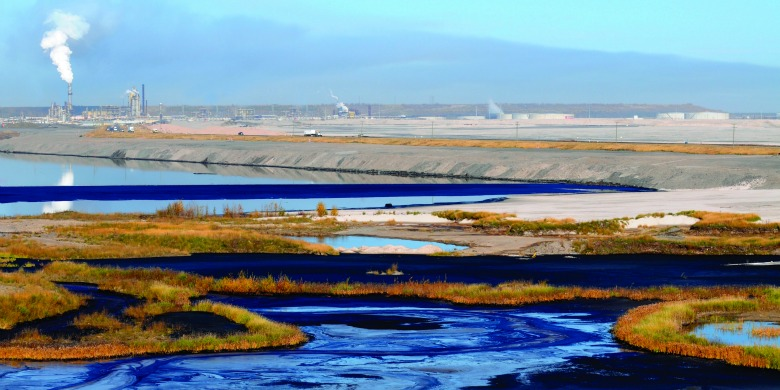 A tailings pond near an oilsands facility in northern Alberta
