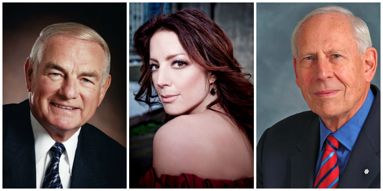 (From left) Former Alberta premier Don Getty, Grammy-winning singer/songwriter Sarah McLachlan, and UAlberta alumnus and business leader Charles Hantho will receive honorary degrees during fall convocation Nov. 19 and 20, 2013.