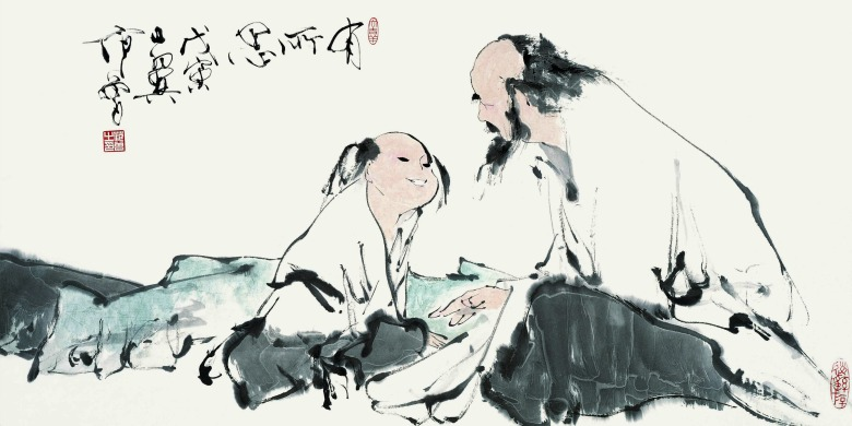 """""""Some Thought Provoked Between the Old and the Young"""" is one of 35 artworks by Fan Zeng featured at an exhibition from Oct. 1 to 26, 2013, at Enterprise Square Galleries."""