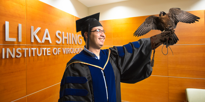 Anwar Anwar-Mohamed holds a falcon at the Li Ka Shing Institute of Virology