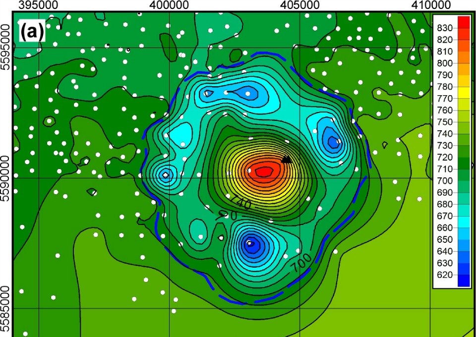 Figure showing the remnants of a crater in southern Alberta that researchers theorize was left behind by a massive meteorite strike sometime within in the last 70 million years.