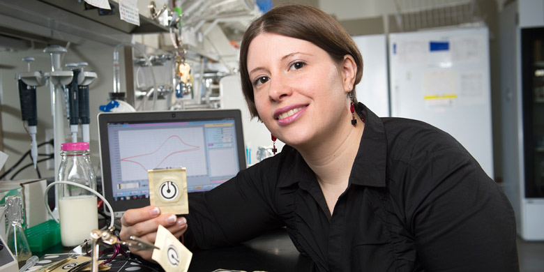 Frederique Deiss shows off her paper-based testing technology for detecting food-borne pathogens.