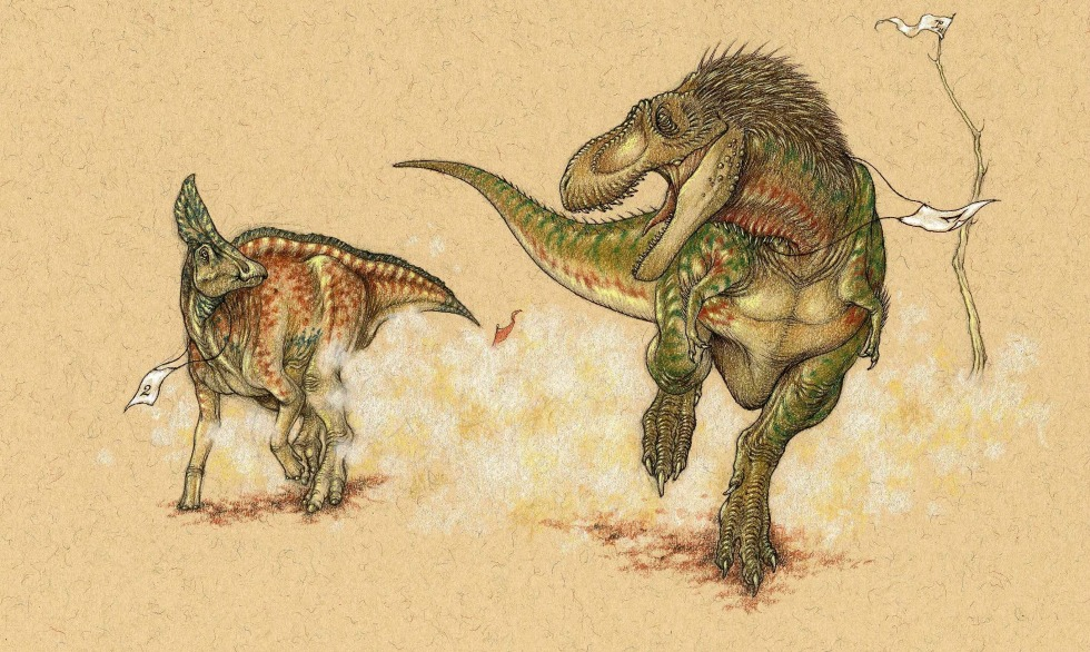 The T. Rex gets off to a quicker start, thanks to leg bones and muscles designed for short bursts of power.