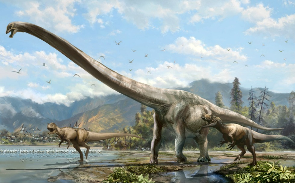 Artist's conception of Qijianglong, chased by two carnivorous dinosaurs in southern China 160 million years ago (Image: Lida Xing)