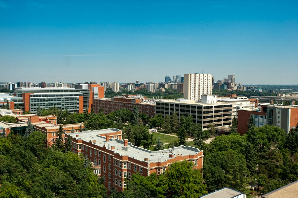 Aerial view of UAlberta's North Campus, with downtown Edmonton in the distance