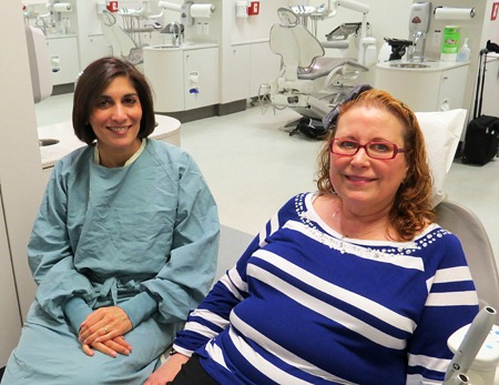 Deborah Berry (right) with oral pathologist Seema Ganatra