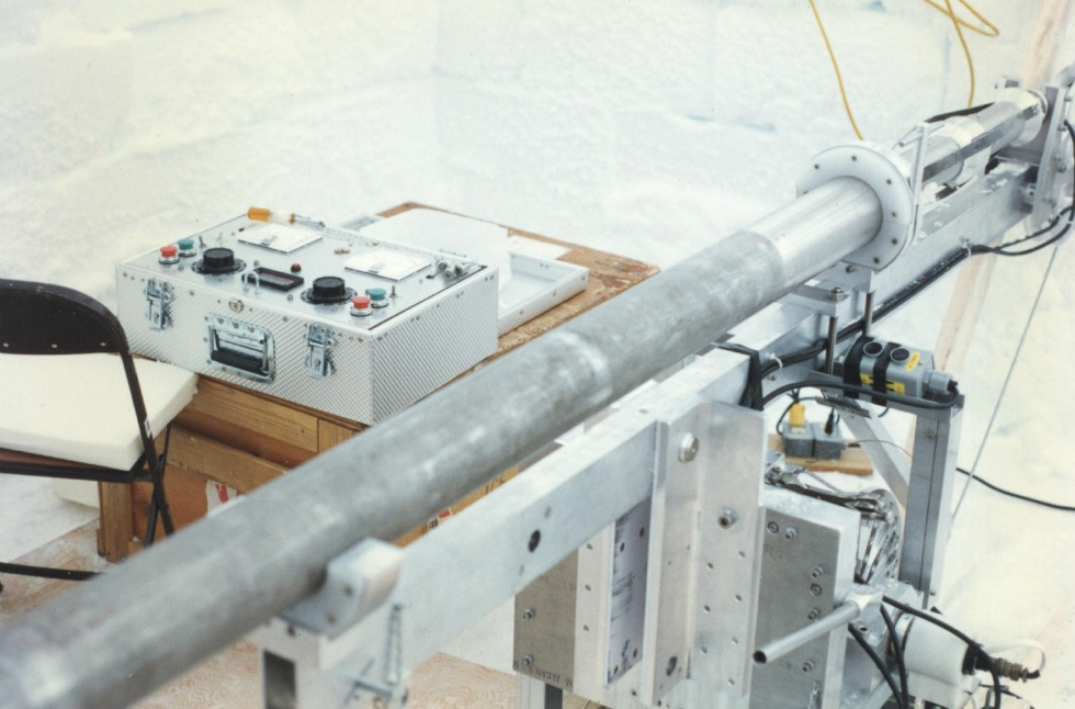 A drill used to take ice core samples