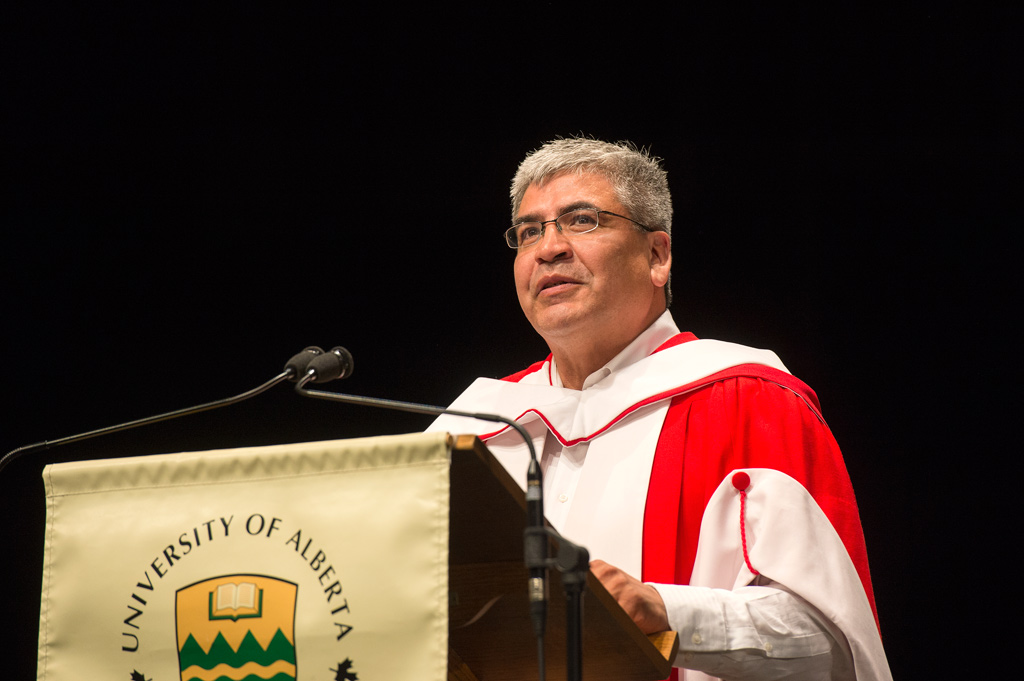 Danny Gaudet, honorary doctor of laws, addresses graduands during convocation ceremonies June 4, 2015.