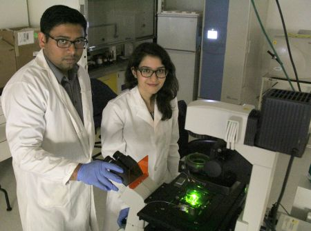 Mechancial engineering professor Aloke Kumar, who holds the Canada Research Chair in Microfluidics for Biological Systems, with PhD student Mahtab Hassanpourfard, in Kumar's lab in the National Institute for Nanotechnology
