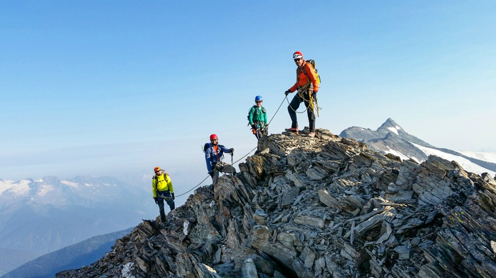 UAlberta students ascend a peak during a mountain backcountry field skills course held last summer in the Purcell Mountains of British Columbia.