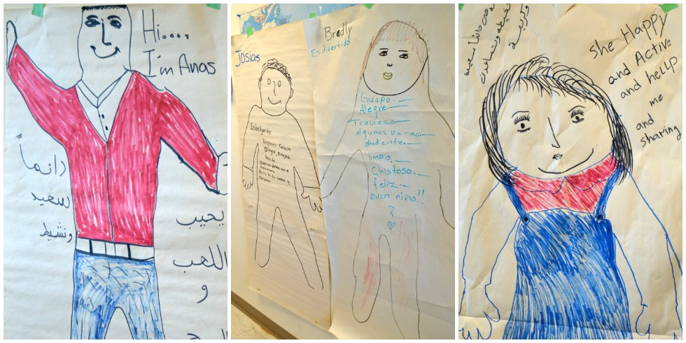 At the Edmonton Mennonite Centre for Newcomers, refugee children draw self-portraits to introduce themselves. Their parents draw the outlines, then the children fill in the details with help from their parents.
