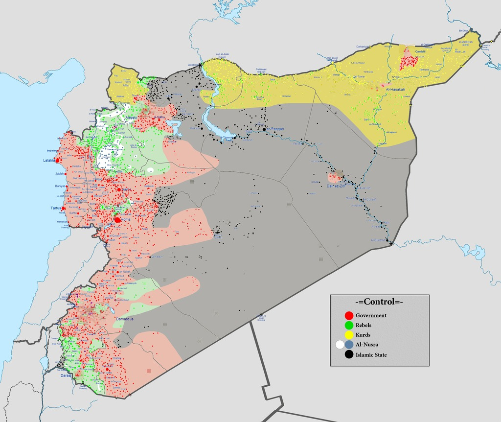Map of the factions fighting for control of Syria