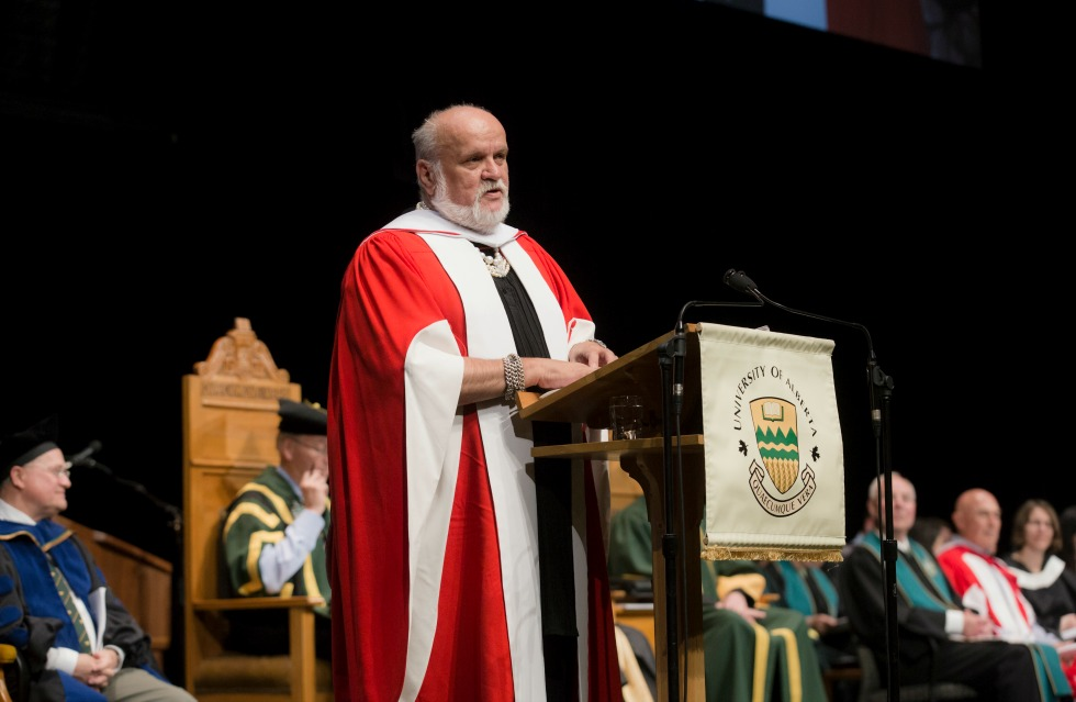 Salah Bachir, honorary doctor of laws, addresses graduands of the Faculty of Education and Faculté Saint-Jean during convocation ceremonies June 9, 2016.