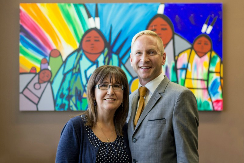 Evelyn Steinhauer with interim dean of education Randy Wimmer