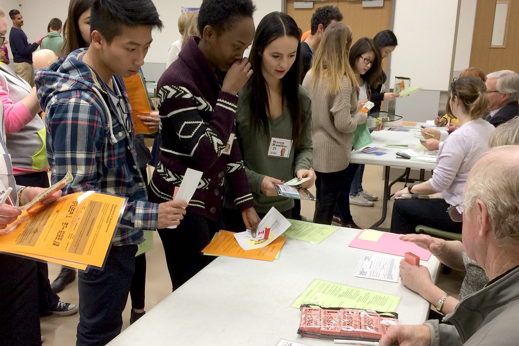 Health science students take part in a poverty simulation.