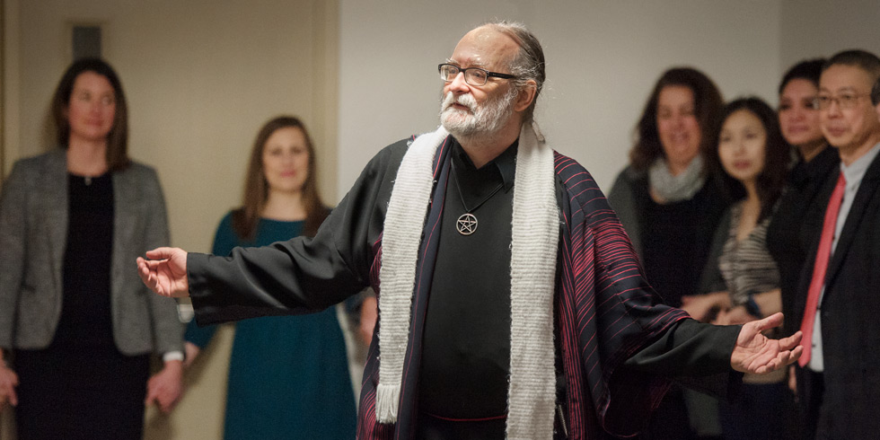 Wiccan chaplain Samuel Wagar welcomes people of all faiths to the new Multi-faith Prayer and Meditation Space at HUB Mall.