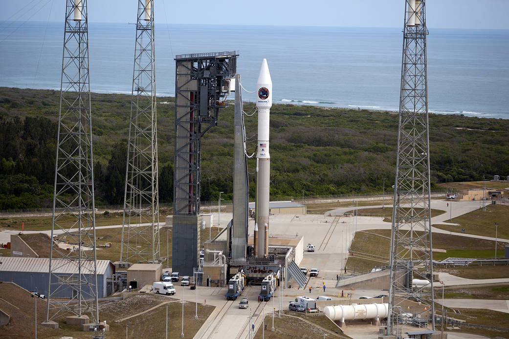 An Atlas V rocket stands ready for launch at Cape Canaveral April 18. The rocket, which carries Ex-Alta 1, a cube satellite built by UAlberta students, launched to the International Space Station. (Photo: United Launch Alliance)