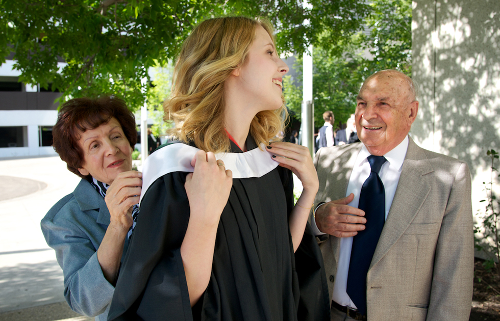 U of A photographer Richard Siemens' daughter with her grandparents at spring convocation