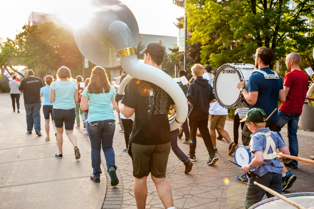 The U of A Marching Band practises their co-ordination as they march on campus.