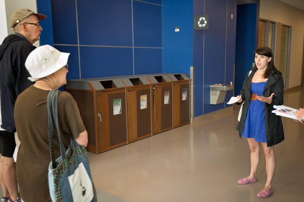 Outreach assistant Emma Shipalesky explains UAlberta's multi-stream recycling system.