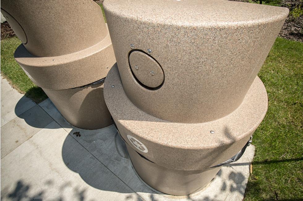 These gravity-powered waste bins extend 10 feet underground.