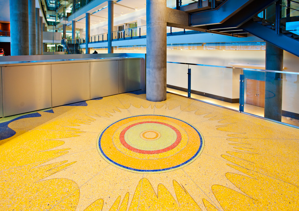 The terrazzo floor in CCIS uses recycled materials to create a distinctive texture.