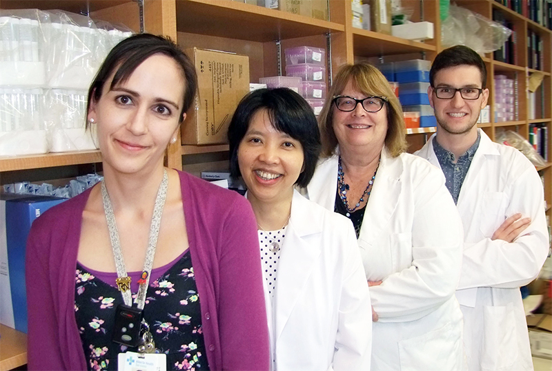 From left to right: Brandi Roach (nurse), Dina Kao, Karen Madsen and Braden Millan (graduate student and first author of the paper).