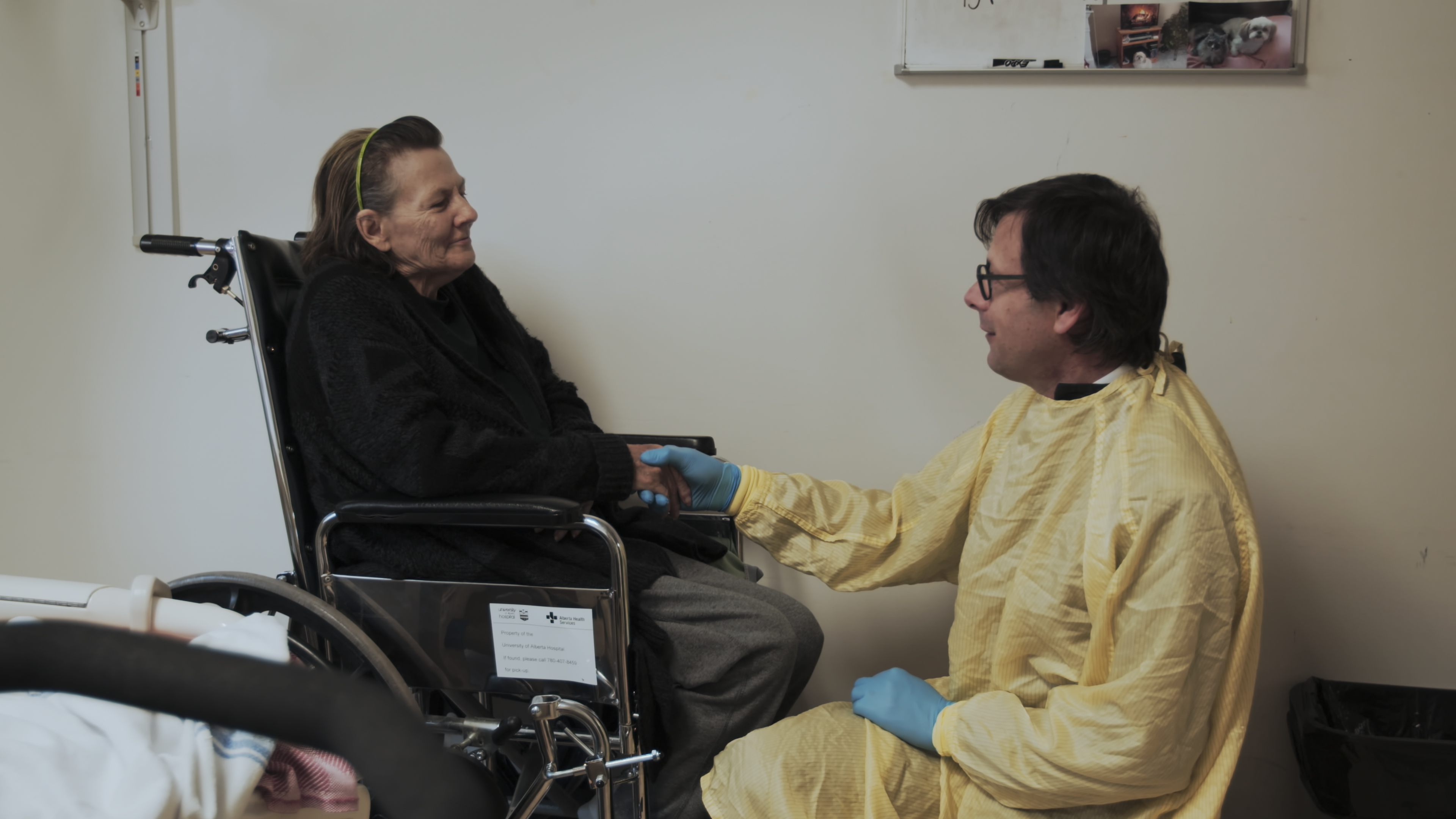 James Shapiro meets a patient following her transplant operation