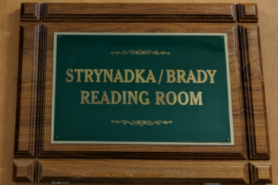 Strynadka/Brady Reading Room plaque