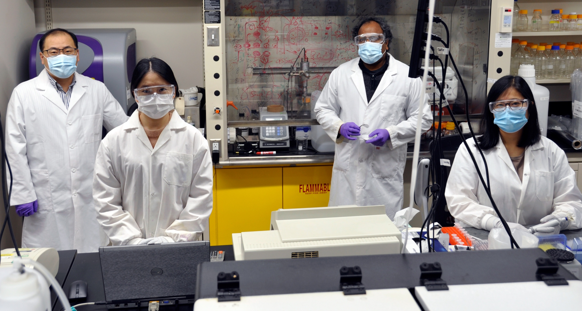 U of A engineering researcher Hyo Jick-Choi (left) and his lab team will focus on manufacturing prototype salt-coated masks and respirators, or a salt-coated filter that is easy to produce and reusable. (Photo: Michael Brown)