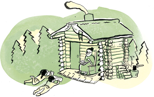Illustration of a mother sitting in front of a log cabin reading to her two children