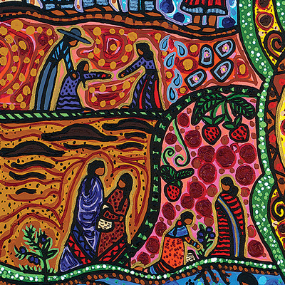 Detail of painting A Tribute to Aboriginal Women (2016) by Leah Dorion
