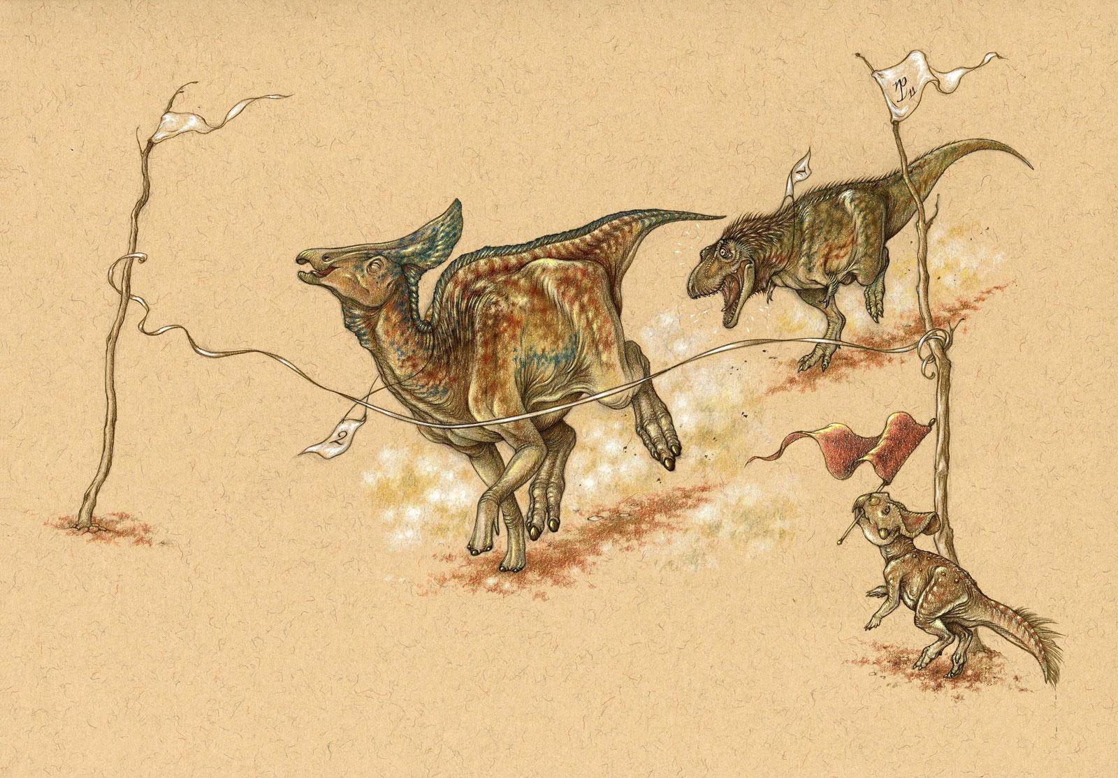 Dinosaur Race illustration – Albertosaurus wins