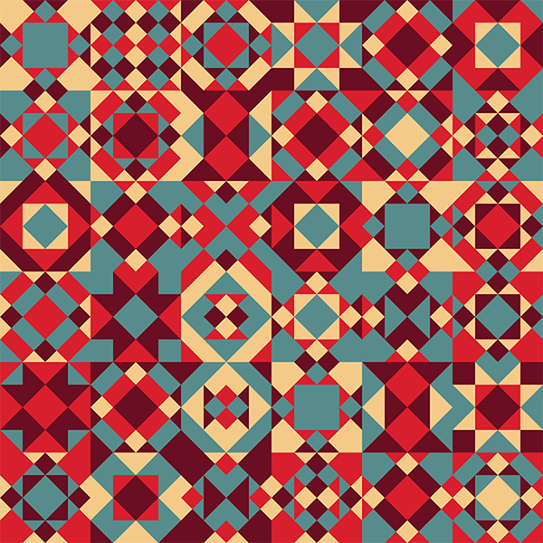 tessilated shapes in patchwork