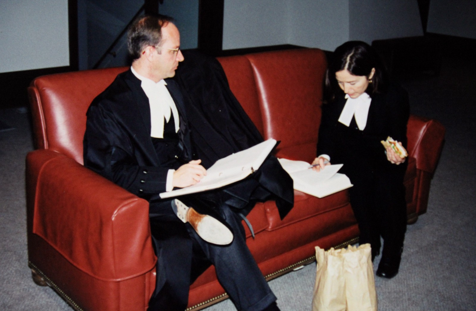 Doug Stollery and lead counsel Sheila Greckol at work on Vriend versus Alberta over lunch.
