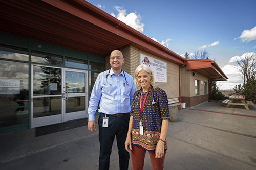 Resident Mohamed El-kalla and Dr. Lola Baydala at the Maskwacis Pediatric Clinic