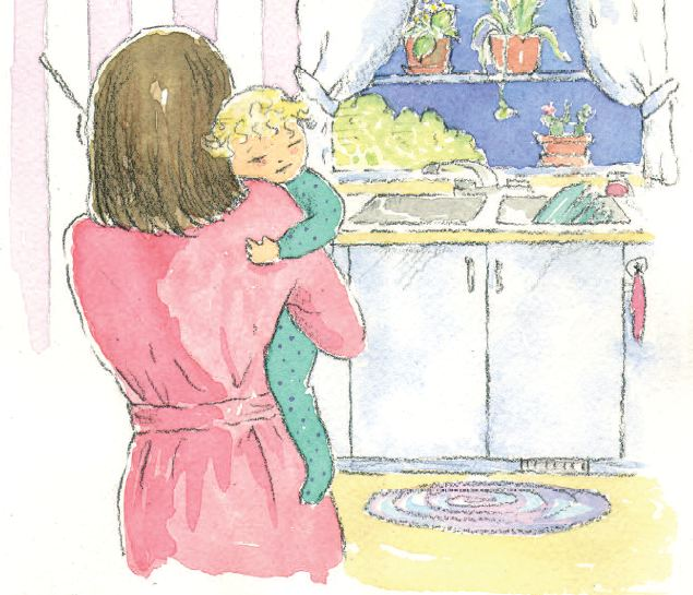 Storybook image - mother holding baby